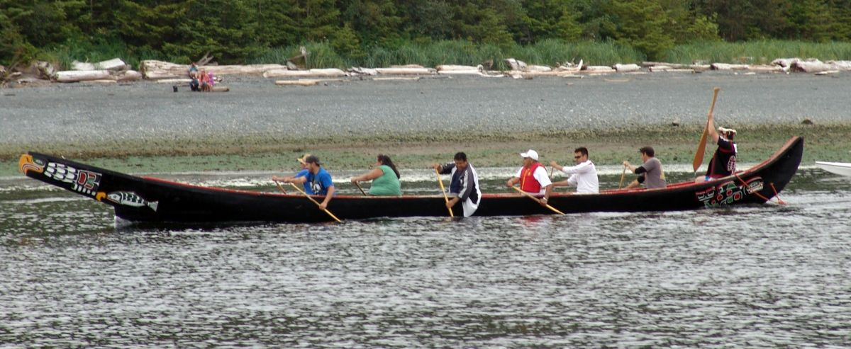 First Nations Canoe In Alert Bay 360 Race